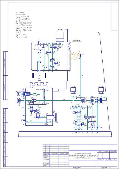 схема вертикально-фрезерного станка.